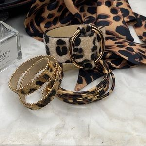 4pc Leopard Print Bracelet + Twilly Scarf Set